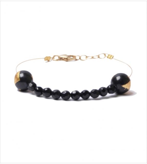 Bracelet avec perles Iolite Noires