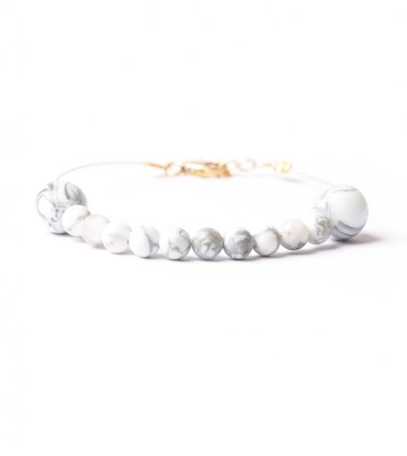 Bracelet Doré avec Perles Howlite Effet Marbré