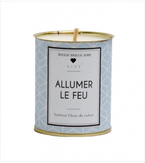"""Bougie de Noël à la Cire de Soja Coloris Bleu """"Allumer le Feu"""""""