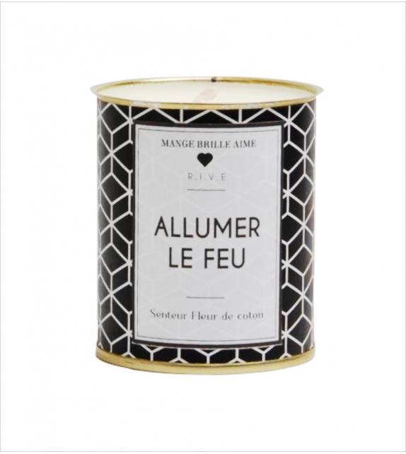 """Bougie de Noël à la Cire de Soja Coloris Noir """"Allumer le Feu"""""""