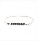 Bracelet Jonc à perles Onyx en argent martelé