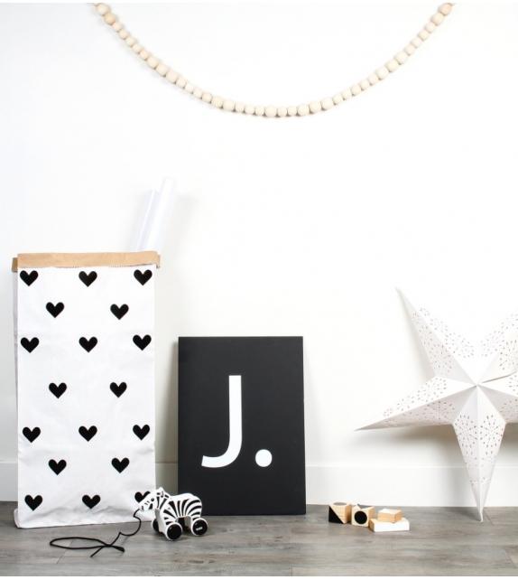 Sac de Rangement Petits Coeur (Grand Modèle) Coloris Noir