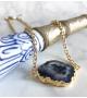 Collier bohème PEARL Quartz Solaire Bleu