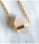 Collier sautoir bohème UNDER MY SKIN Quartz Rose