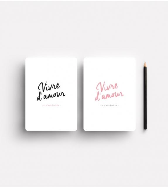 """Carte """"VIVRE D'AMOUR"""" rose (et noir)"""