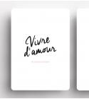 """Carte """"VIVRE D'AMOUR"""" noir (et rose)"""