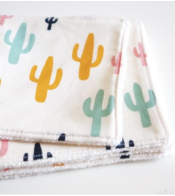 Lingettes démaquillantes lavables Cactus